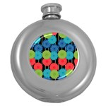 Vibrant Retro Pattern Round Hip Flask (5 oz) Front