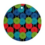 Vibrant Retro Pattern Round Ornament (Two Sides)  Back
