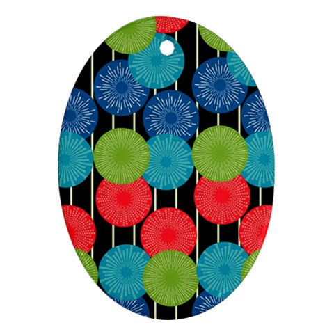 Vibrant Retro Pattern Oval Ornament (Two Sides)