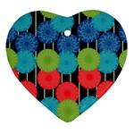 Vibrant Retro Pattern Heart Ornament (2 Sides) Back
