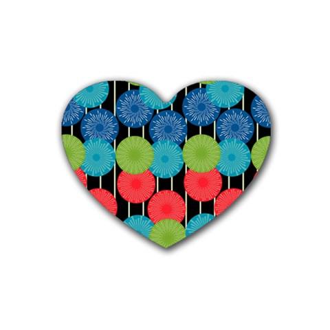 Vibrant Retro Pattern Rubber Coaster (Heart)