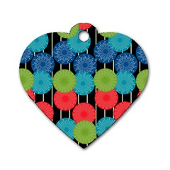 Vibrant Retro Pattern Dog Tag Heart (two Sides)