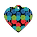 Vibrant Retro Pattern Dog Tag Heart (Two Sides) Back