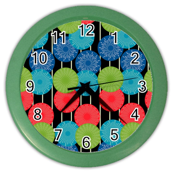 Vibrant Retro Pattern Color Wall Clocks