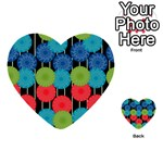 Vibrant Retro Pattern Multi-purpose Cards (Heart)  Front 54