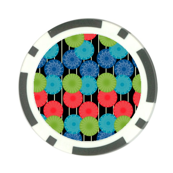 Vibrant Retro Pattern Poker Chip Card Guards (10 pack)
