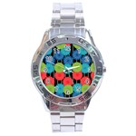 Vibrant Retro Pattern Stainless Steel Analogue Watch Front