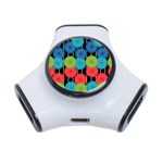 Vibrant Retro Pattern 3-Port USB Hub Front