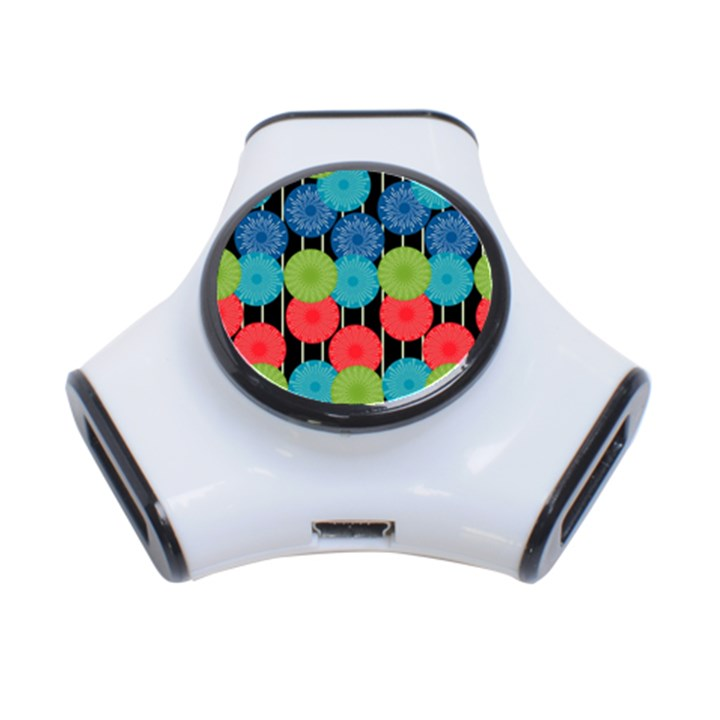 Vibrant Retro Pattern 3-Port USB Hub