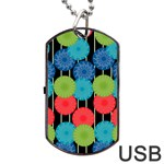 Vibrant Retro Pattern Dog Tag USB Flash (One Side) Front