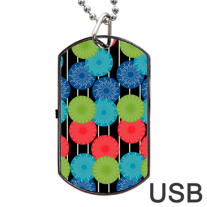 Vibrant Retro Pattern Dog Tag USB Flash (One Side)