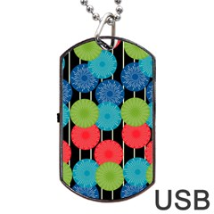 Vibrant Retro Pattern Dog Tag Usb Flash (two Sides)
