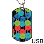 Vibrant Retro Pattern Dog Tag USB Flash (Two Sides)  Back