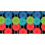 Vibrant Retro Pattern Twin Heart Bottom 3D Greeting Card (8x4) Front