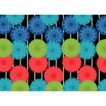 Vibrant Retro Pattern Circle Bottom 3D Greeting Card (7x5) Back