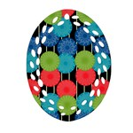Vibrant Retro Pattern Ornament (Oval Filigree)  Front