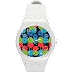 Vibrant Retro Pattern Round Plastic Sport Watch (M) Front