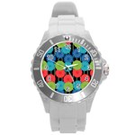 Vibrant Retro Pattern Round Plastic Sport Watch (L) Front