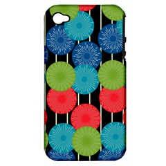Vibrant Retro Pattern Apple Iphone 4/4s Hardshell Case (pc+silicone)
