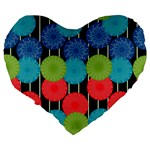 Vibrant Retro Pattern Large 19  Premium Heart Shape Cushions Back