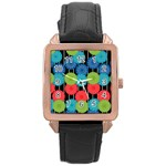Vibrant Retro Pattern Rose Gold Leather Watch  Front