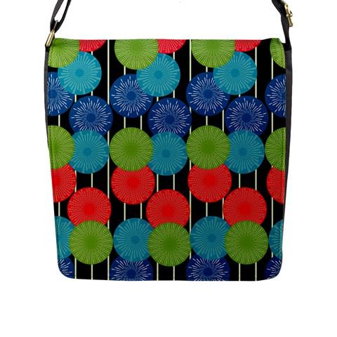 Vibrant Retro Pattern Flap Messenger Bag (L)