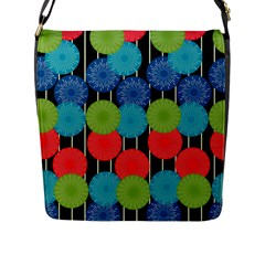Vibrant Retro Pattern Flap Messenger Bag (l)