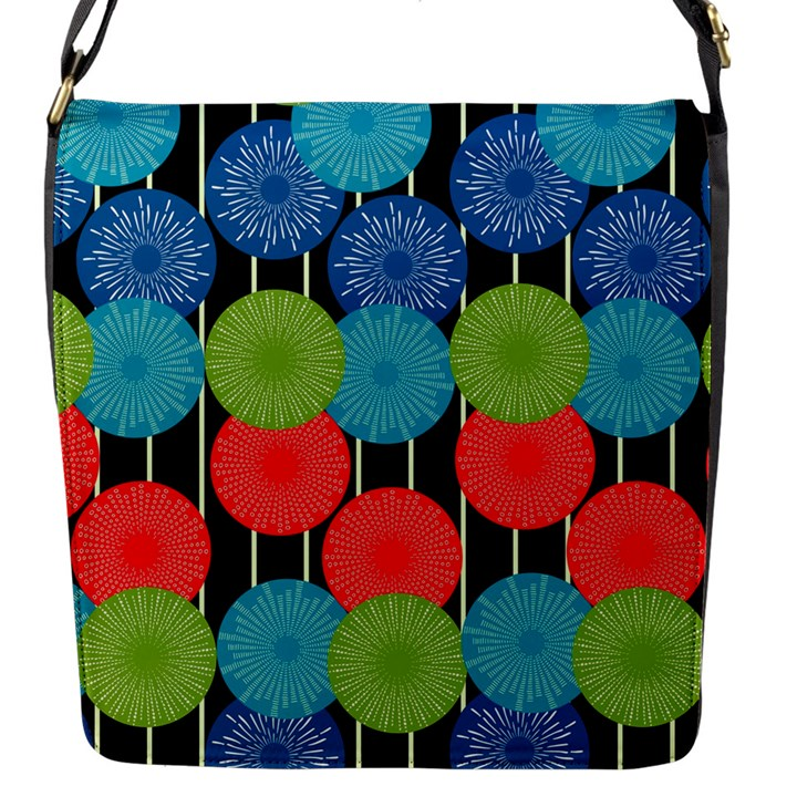 Vibrant Retro Pattern Flap Messenger Bag (S)