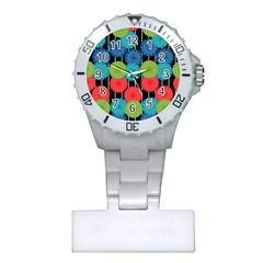 Vibrant Retro Pattern Plastic Nurses Watch