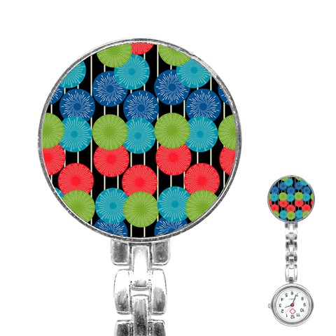 Vibrant Retro Pattern Stainless Steel Nurses Watch