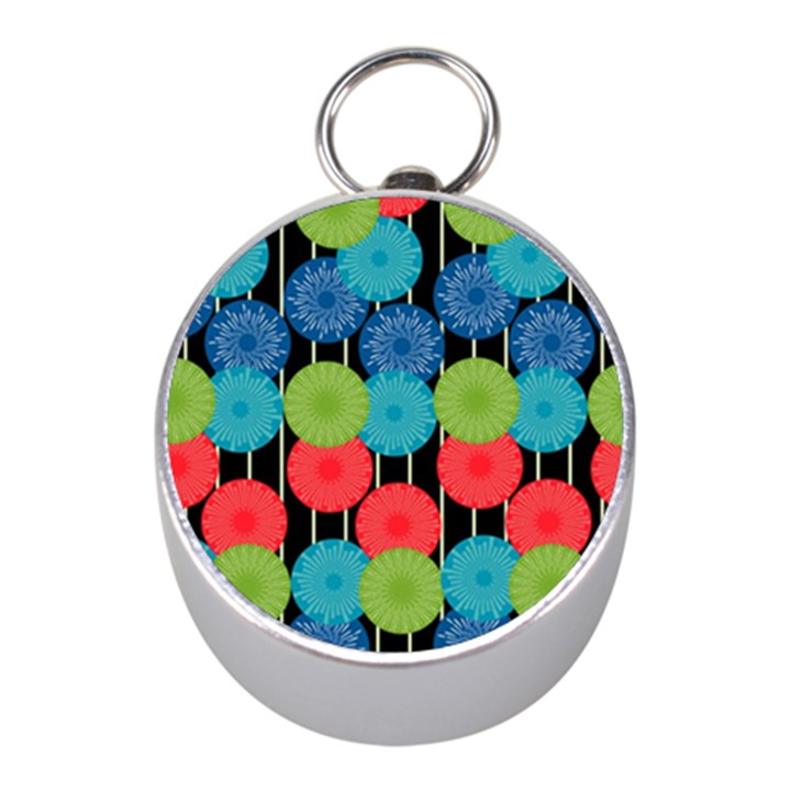 Vibrant Retro Pattern Mini Silver Compasses