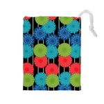 Vibrant Retro Pattern Drawstring Pouches (Large)  Front