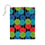 Vibrant Retro Pattern Drawstring Pouches (Large)  Back