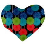 Vibrant Retro Pattern Large 19  Premium Flano Heart Shape Cushions Back