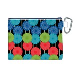 Vibrant Retro Pattern Canvas Cosmetic Bag (L) Back