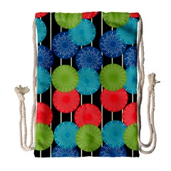 Vibrant Retro Pattern Drawstring Bag (Large)