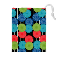 Vibrant Retro Pattern Drawstring Pouches (extra Large)