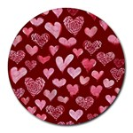 Watercolor Valentine s Day Hearts Round Mousepads Front