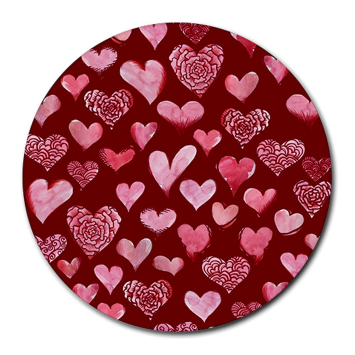 Watercolor Valentine s Day Hearts Round Mousepads