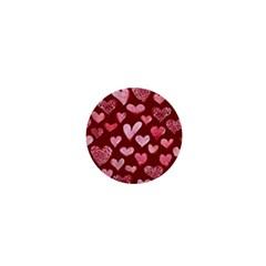 Watercolor Valentine s Day Hearts 1  Mini Magnets