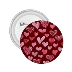 Watercolor Valentine s Day Hearts 2 25  Buttons