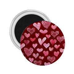 Watercolor Valentine s Day Hearts 2 25  Magnets