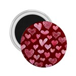 Watercolor Valentine s Day Hearts 2.25  Magnets Front