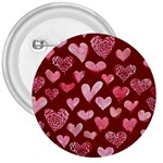 Watercolor Valentine s Day Hearts 3  Buttons Front