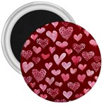 Watercolor Valentine s Day Hearts 3  Magnets Front