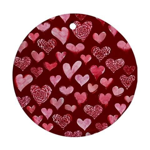 Watercolor Valentine s Day Hearts Ornament (Round)
