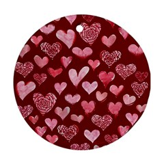 Watercolor Valentine s Day Hearts Ornament (round)