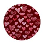 Watercolor Valentine s Day Hearts Ornament (Round)  Front