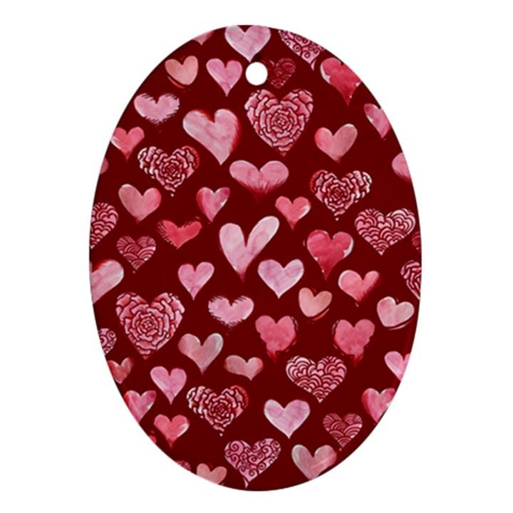 Watercolor Valentine s Day Hearts Ornament (Oval)