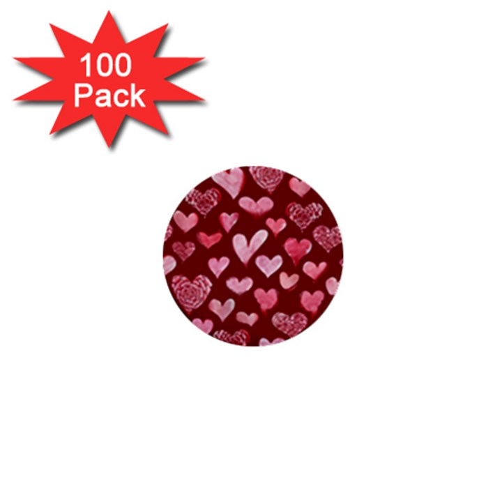 Watercolor Valentine s Day Hearts 1  Mini Buttons (100 pack)